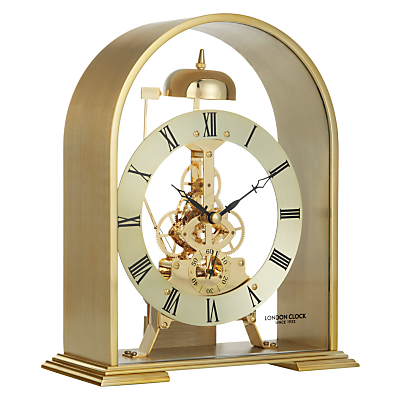 London Clock Company Arch Skeleton Mantel Clock, Gold
