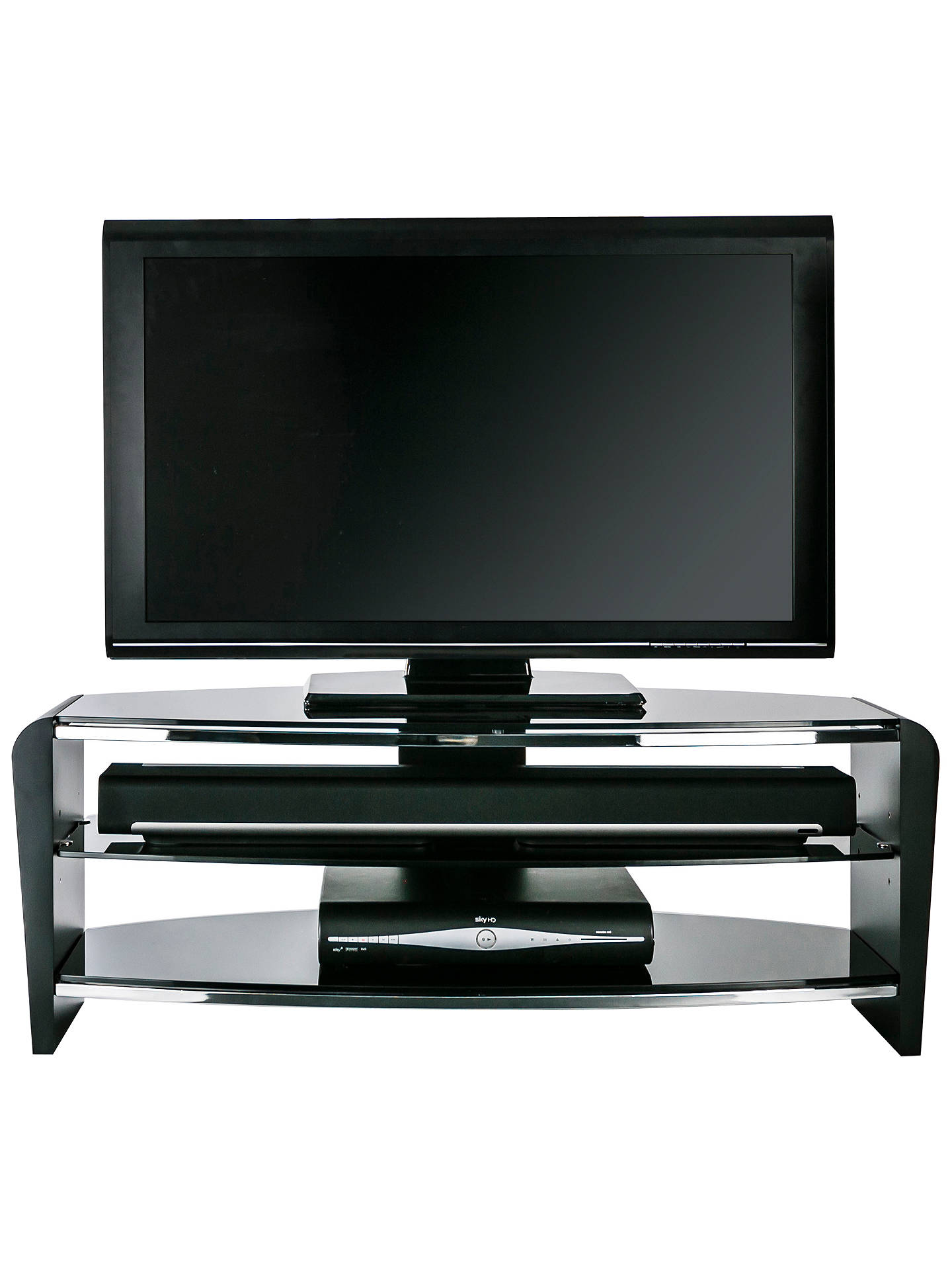 "BuyAlphason Francium 110 TV Stand for TVs up to 50"", Black Glass Online at johnlewis.com"