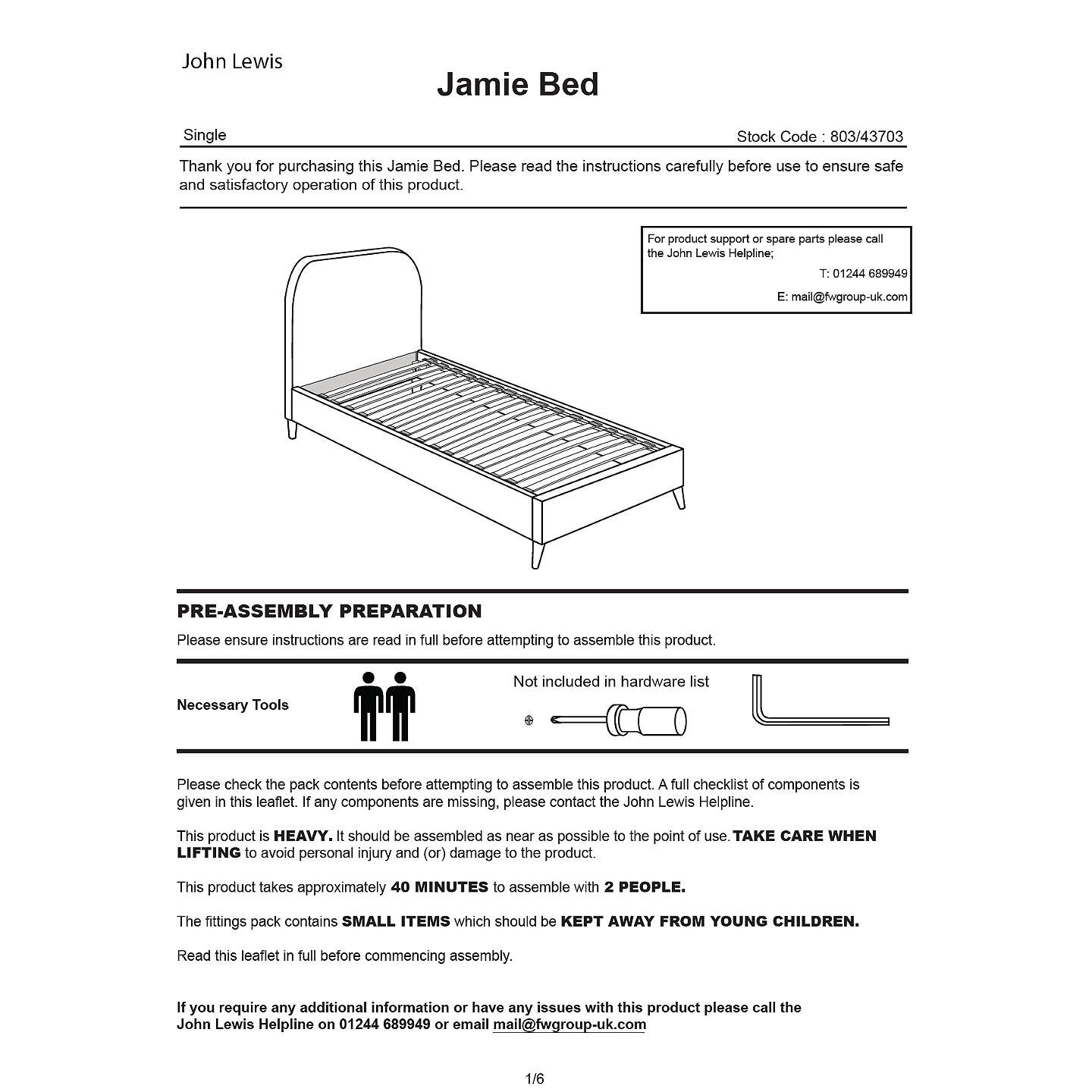 john lewis cot bed assembly instructions
