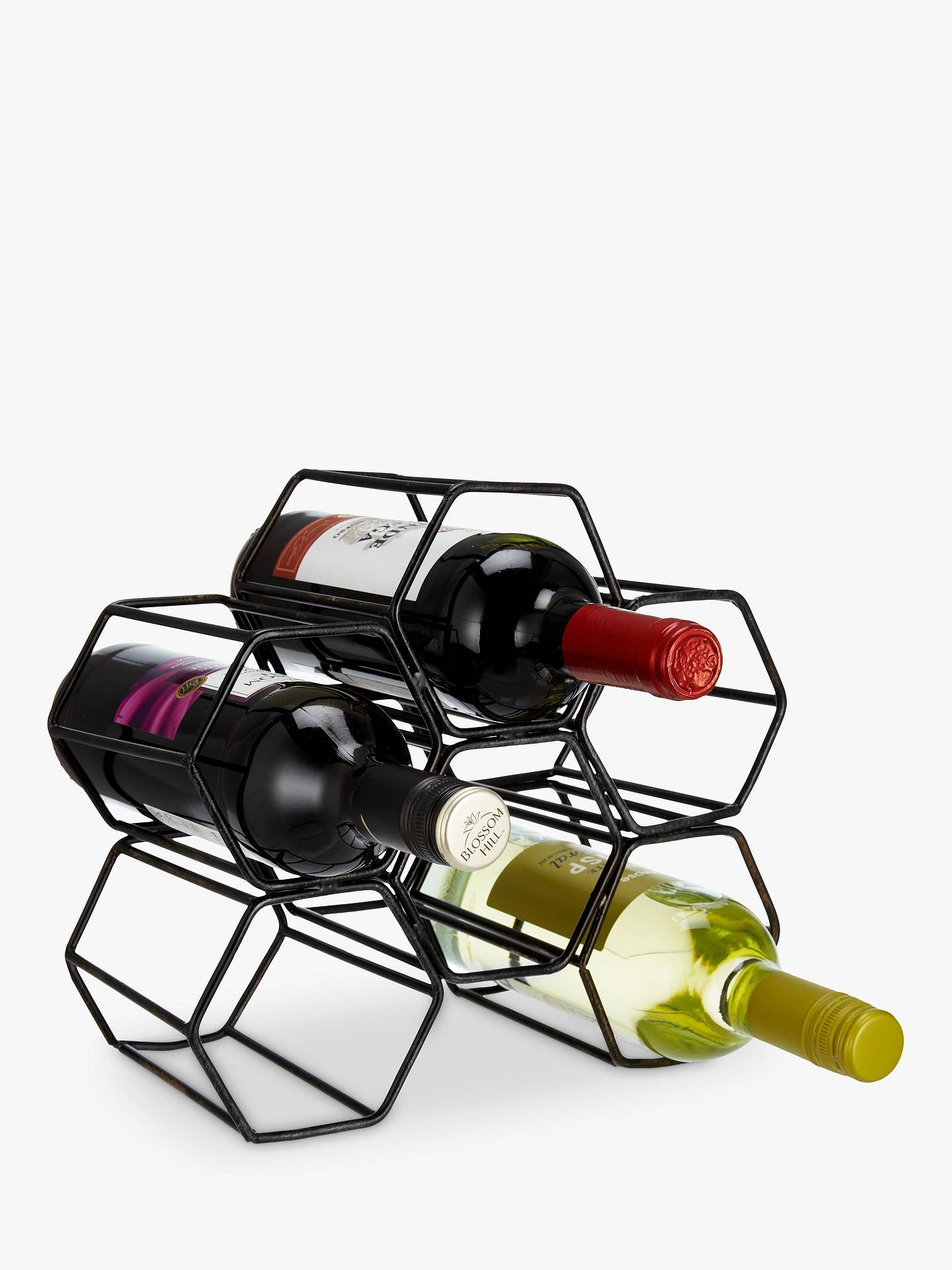 John Lewis Partners Honeycomb Metal Wine Rack 6 Bottles Online At Johnlewis