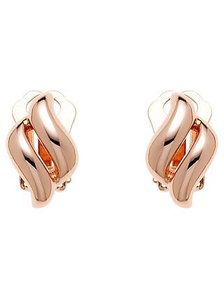 Finesse Diamond Shape Clip On Earrings Rose Gold