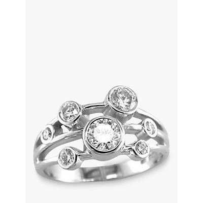 E.W Adams 18ct White Gold Diamond 3 Row Set Ring, White Gold