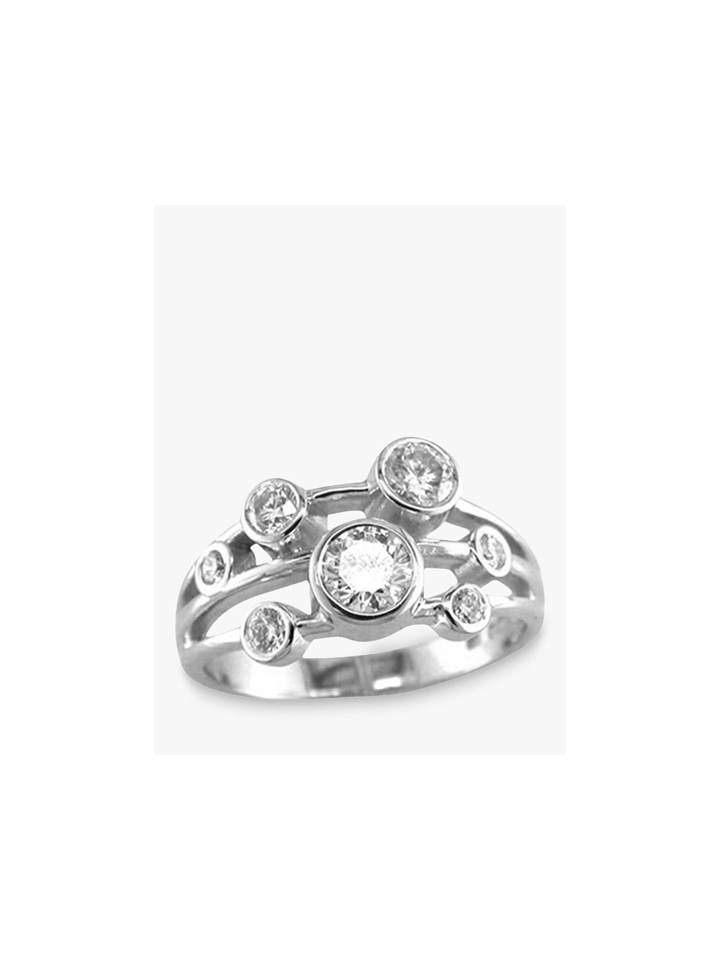 Buy E.W Adams 18ct White Gold Diamond 3 Row Set Ring, White Gold Online at johnlewis.com