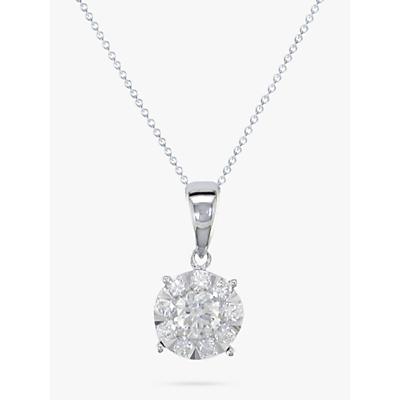 E.W Adams 18ct White Gold Diamond Illusion Pendant Necklace, White Gold