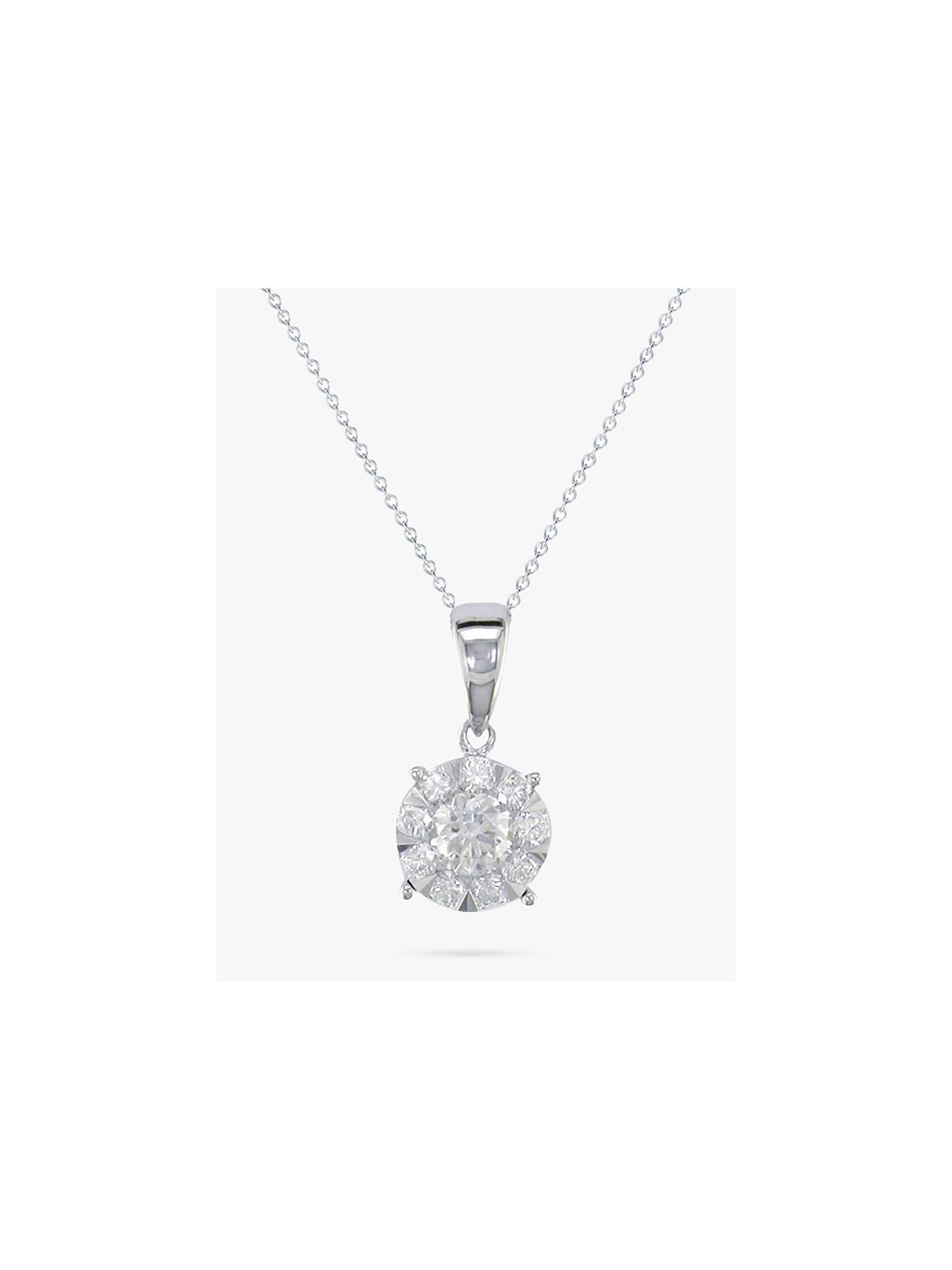 a251e8b499ad83 Buy E.W Adams 18ct White Gold Diamond Illusion Pendant Necklace, White Gold  Online at johnlewis ...