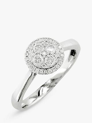 E.W Adams 18ct White Gold Diamond Cluster Engagement Ring, White Gold