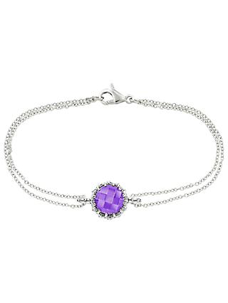 London Road Bloomsbury 9ct White Gold Chequer Cut Amethyst Coronation Bracelet, White Gold