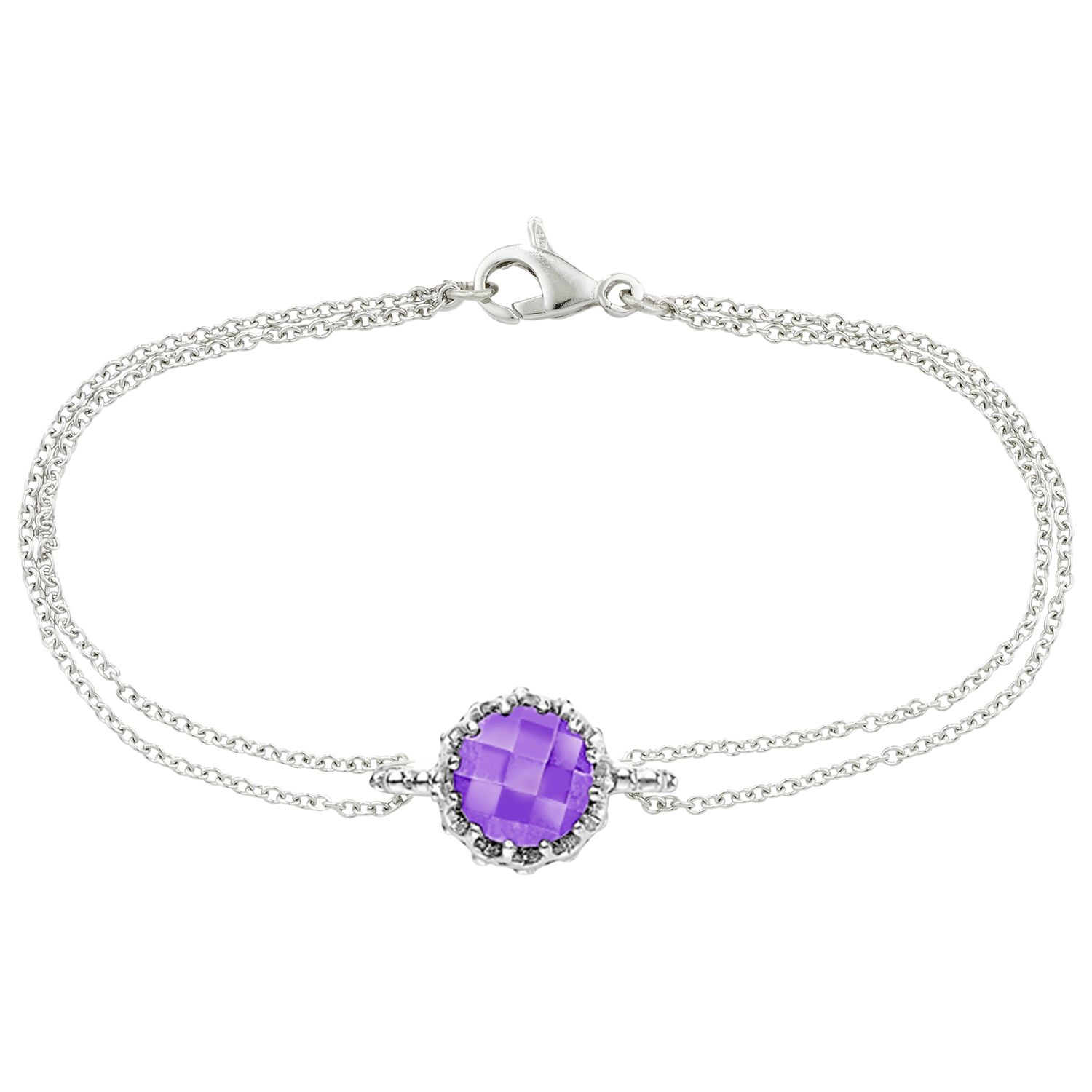 London Road London Road Bloomsbury 9ct White Gold Chequer Cut Amethyst Coronation Bracelet, White Gold