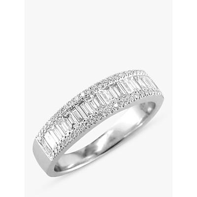 E.W Adams 18ct White Gold Diamond Baguette Cut Half Eternity Ring, White Gold