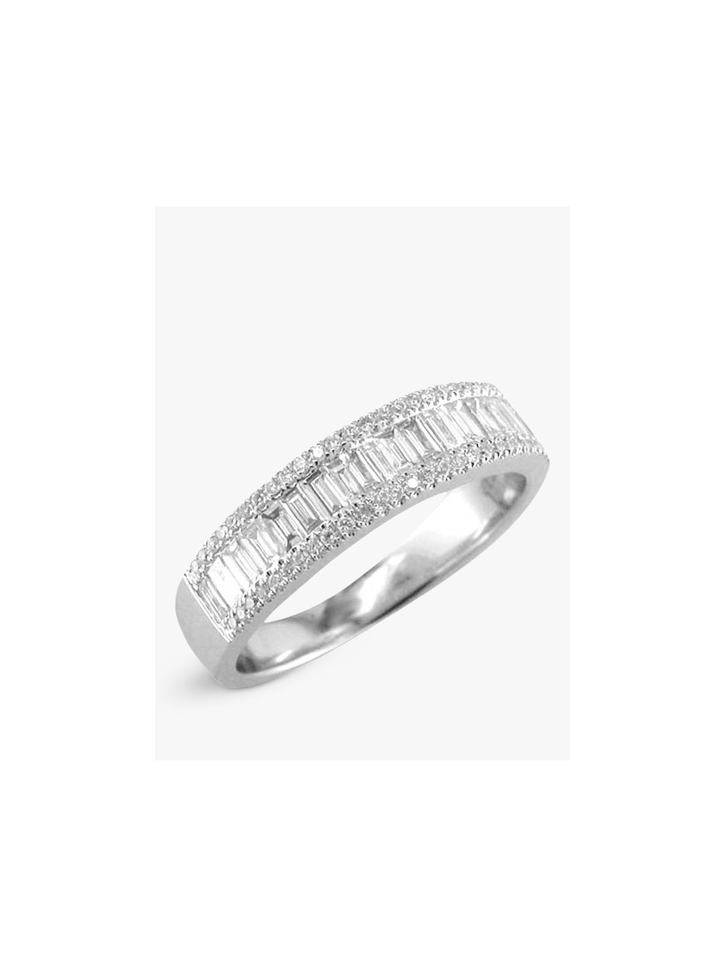 64f06c0d2d9ca6 Buy E.W Adams 18ct White Gold Diamond Baguette Cut Half Eternity Ring, White  Gold Online ...