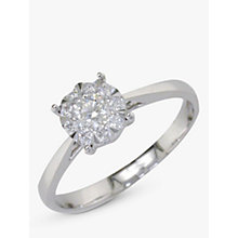 Buy EWA 18ct White Gold Diamond Illusion Set Claw 32 Ring, White Gold Online at johnlewis.com