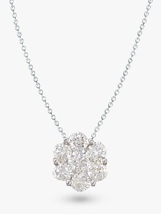 E.W Adams 18ct White Gold Diamond Cluster Pendant, White Gold