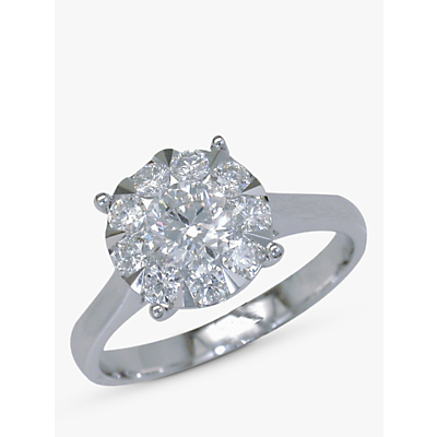 Image of EWA 18ct White Gold Diamond Illusion Claw Set Ring, N