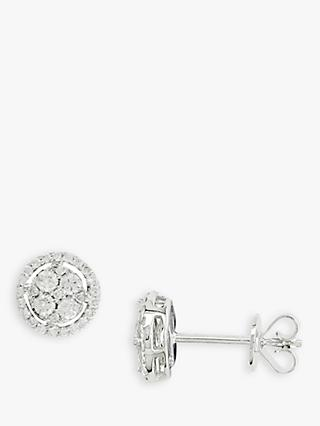 E.W Adams 18ct White Gold Diamond Cluster Earrings