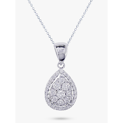 Product photo of Ewa 18ct white gold pear cut diamond cluster pendant necklace white gold