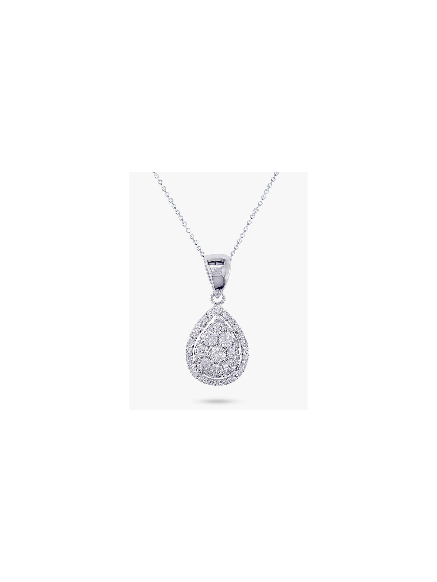 02c803e2b45ceb Buy E.W Adams 18ct White Gold Pear Cut Diamond Cluster Pendant Necklace, White  Gold Online