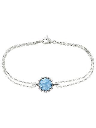 London Road Bloomsbury 9ct White Gold Chequer Cut Topaz Coronation Bracelet, White Gold