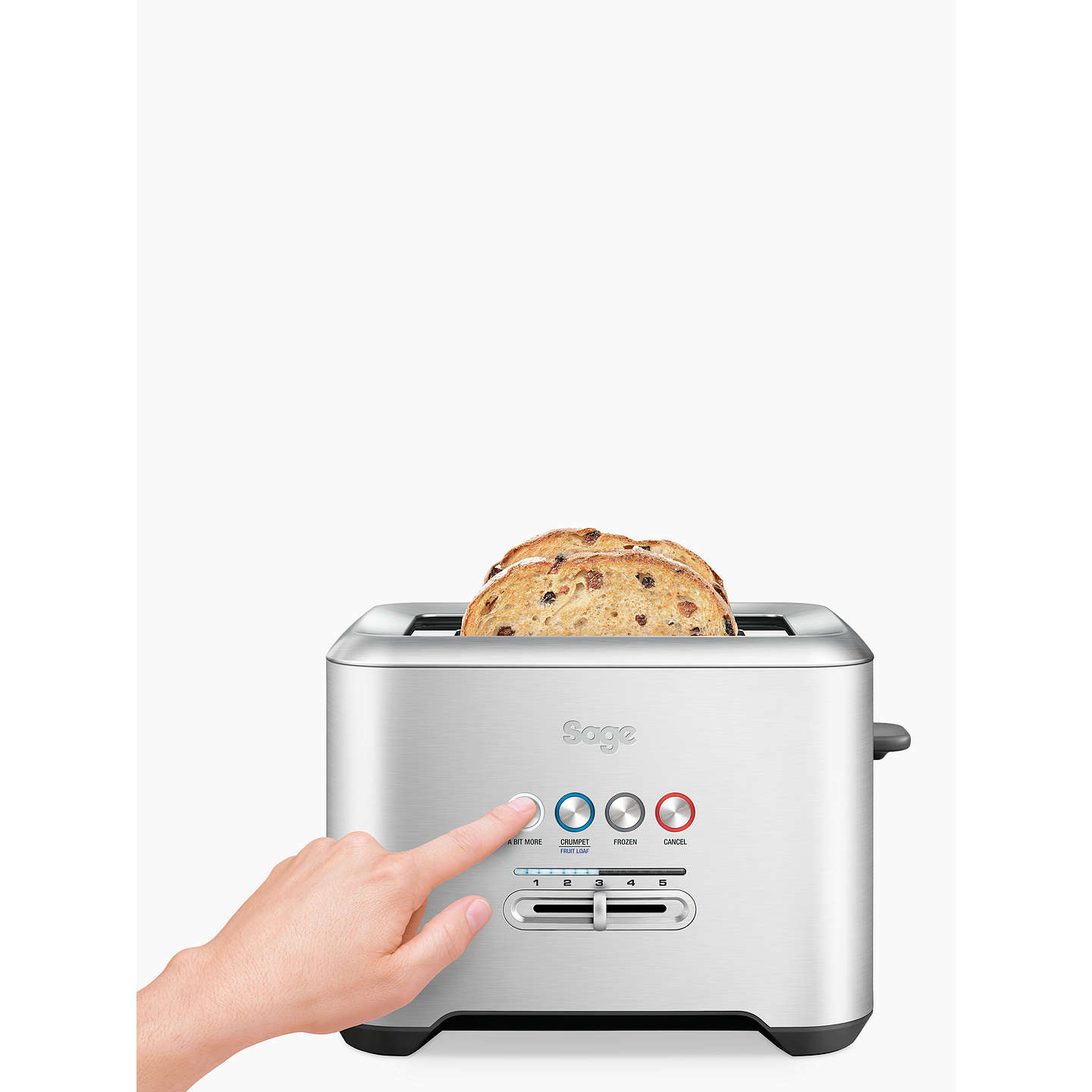 BuySage A Bit More 2-Slice Toaster, Brushed Metal Online at johnlewis.com