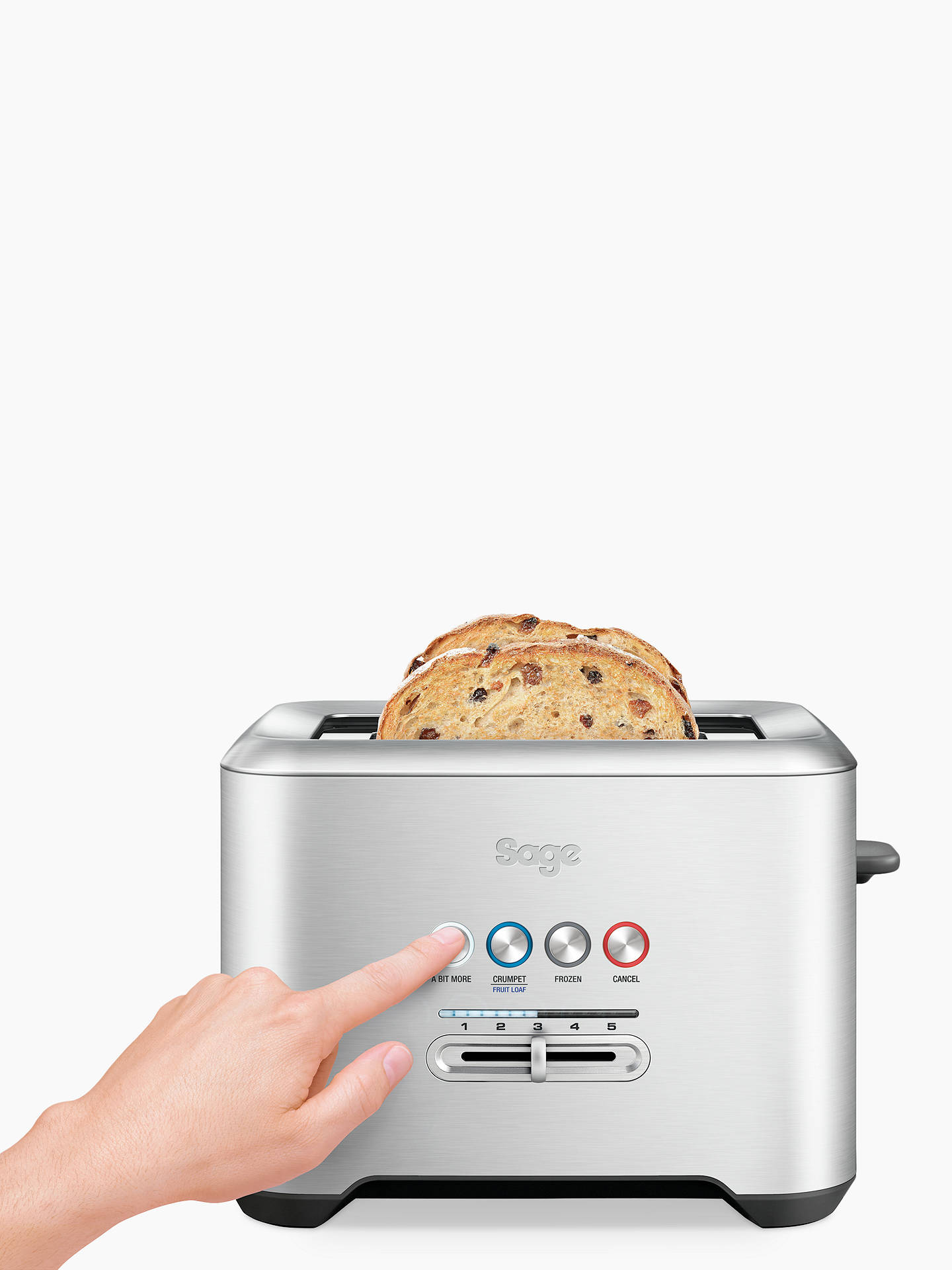 Buy Sage A Bit More 2-Slice Toaster, Brushed Metal Online at johnlewis.com