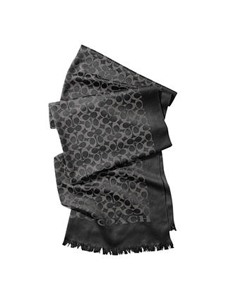 Buy Coach Signature C Silk Blend Stole Scarf, Black/Grey Online at johnlewis.com