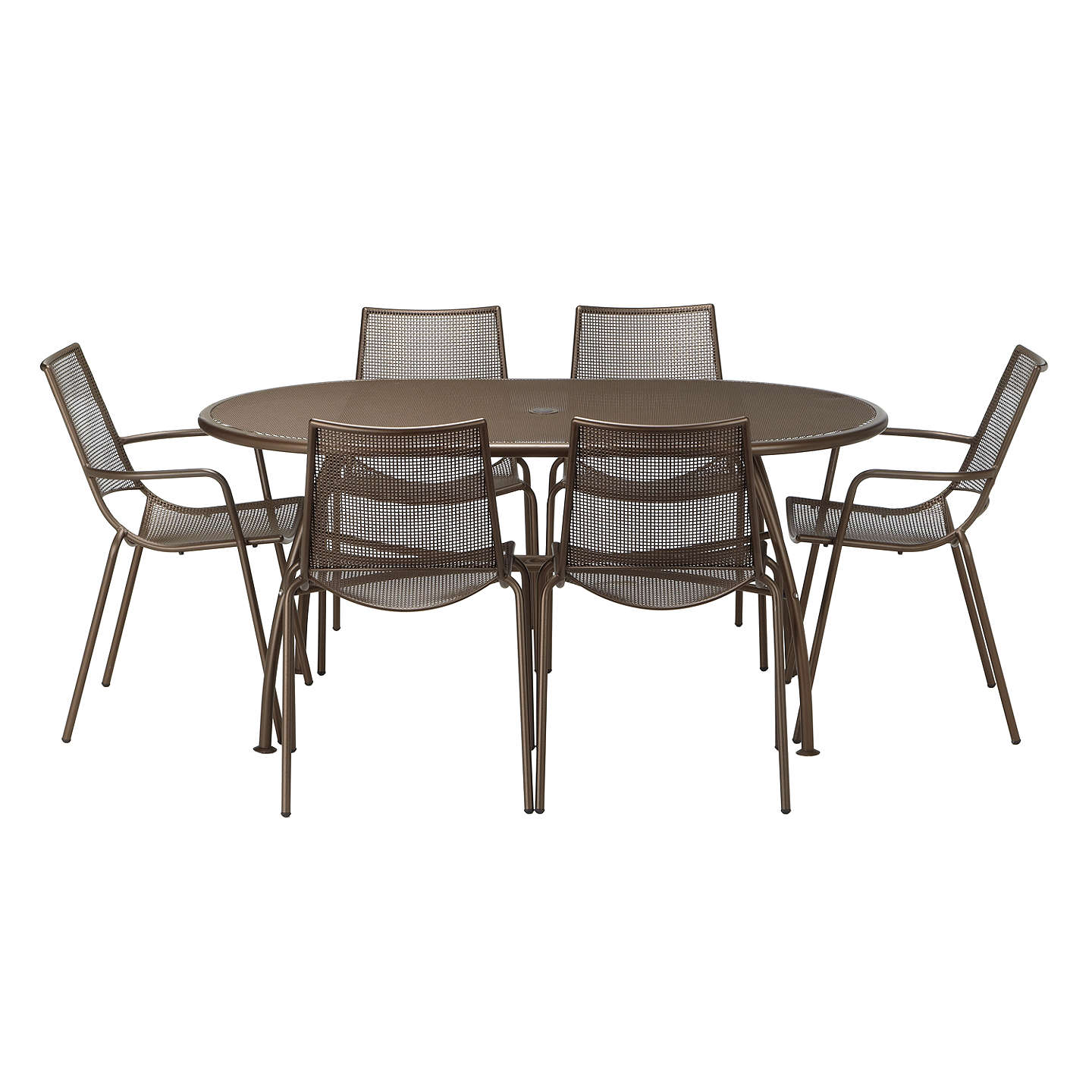 6 Seater Garden Furniture John lewis ala mesh 6 seater garden table and chairs dining set buyjohn lewis ala mesh 6 seater garden table and chairs dining set bronze online workwithnaturefo