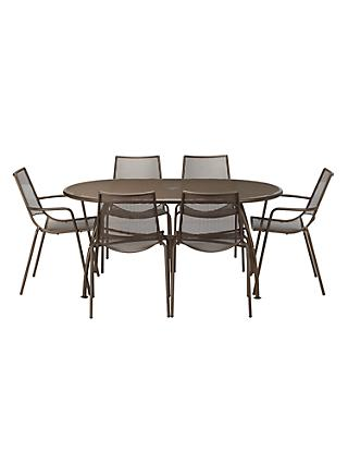 John Lewis & Partners Ala Mesh 6-Seater Garden Table and Chairs Dining Set, Bronze