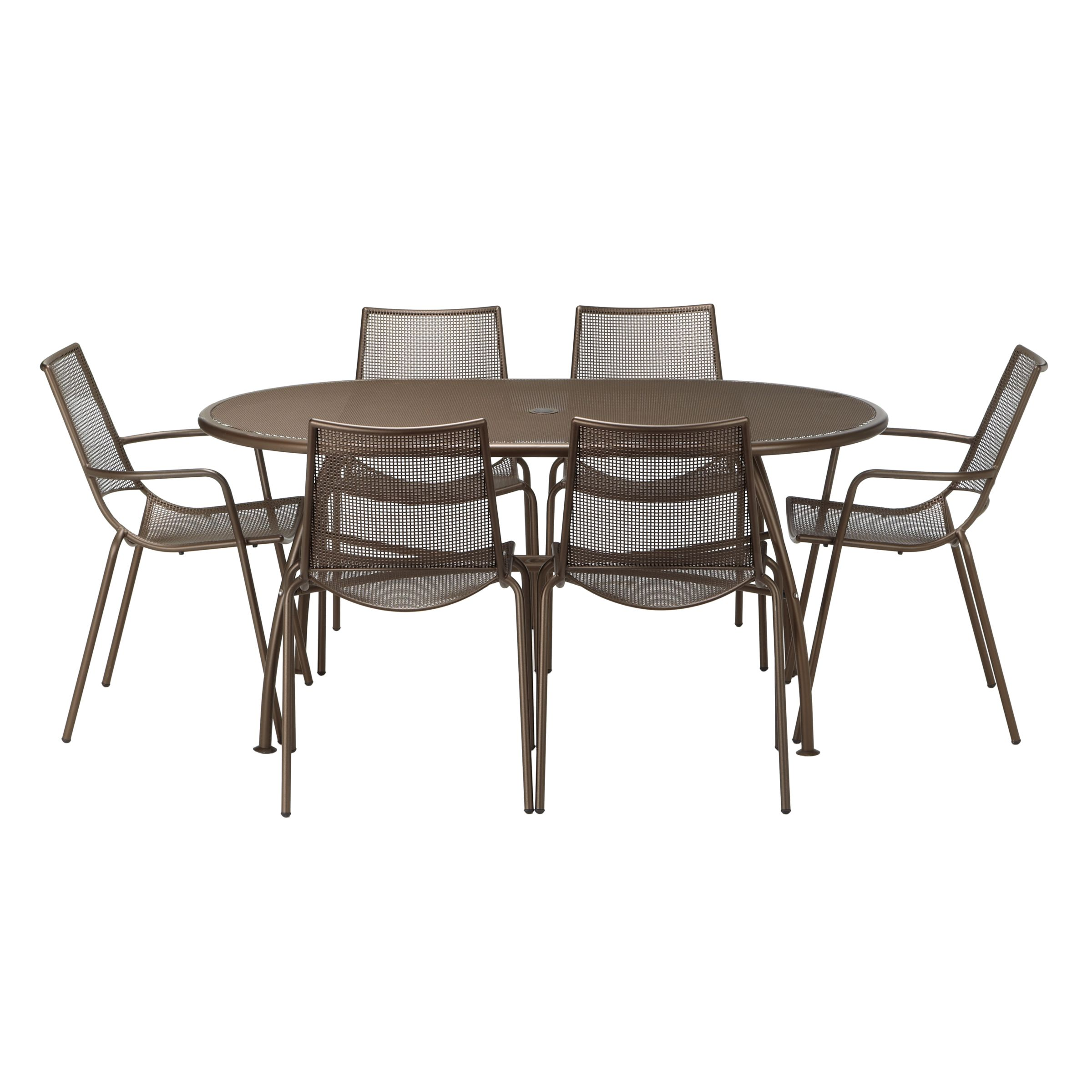EMU Ala Mesh 6-Seater Garden Table and Chairs Dining Set, Bronze