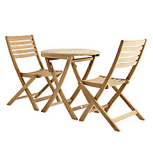 Buy John Lewis Longstock Bistro Table & 2 Folding Garden Chairs, FSC-Certified (Teak), Natural Online at johnlewis.com
