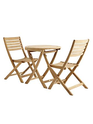 John Lewis Longstock Garden Bistro Table & 2 Folding Chairs, FSC-Certified (Teak), Natural