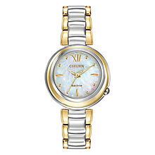 Buy Citizen EM0337-56D Women's Sunrise Mother of Pearl Two Tone Eco-Drive Stainless Steel Bracelet Strap Watch, Gold/Silver Online at johnlewis.com