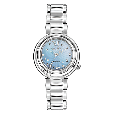 Citizen EM0320-59D Women's Sunrise Diamond and Mother of Pearl Eco-Drive Stainless Steel Bracelet Strap Watch, Silver/Blue