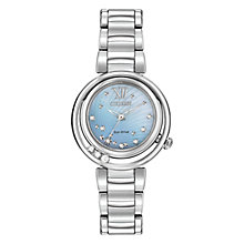 Buy Citizen EM0320-59D Women's Sunrise Diamond and Mother of Pearl Eco-Drive Stainless Steel Bracelet Strap Watch, Silver/Blue Online at johnlewis.com