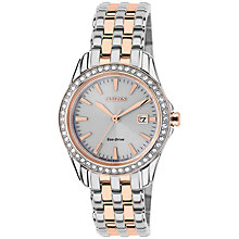 Buy Citizen EW1909-64A Women's Silhouette Crystal Swarovski Crystal Eco-Drive Stainless Steel Bracelet Strap Watch, Silver/Gold Online at johnlewis.com