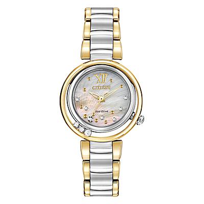 Citizen EM0324-58D Women's Sunrise Diamond Bracelet Strap Watch, Silver/Gold