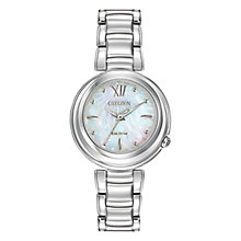 Buy Citizen EM0330-55D Women's Sunrise Mother of Pearl Eco-Drive Stainless Steel Bracelet Strap Watch, Silver/Blue Online at johnlewis.com