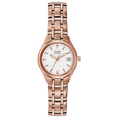 Citizen EW1263-52A Women's Silhouette Stainless Steel Bracelet Strap Watch, Rose Gold/White