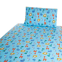 Buy John Lewis Baby Noah's Ark Cot/Cotbed Cotton Duvet Cover Set, Blue Online at johnlewis.com