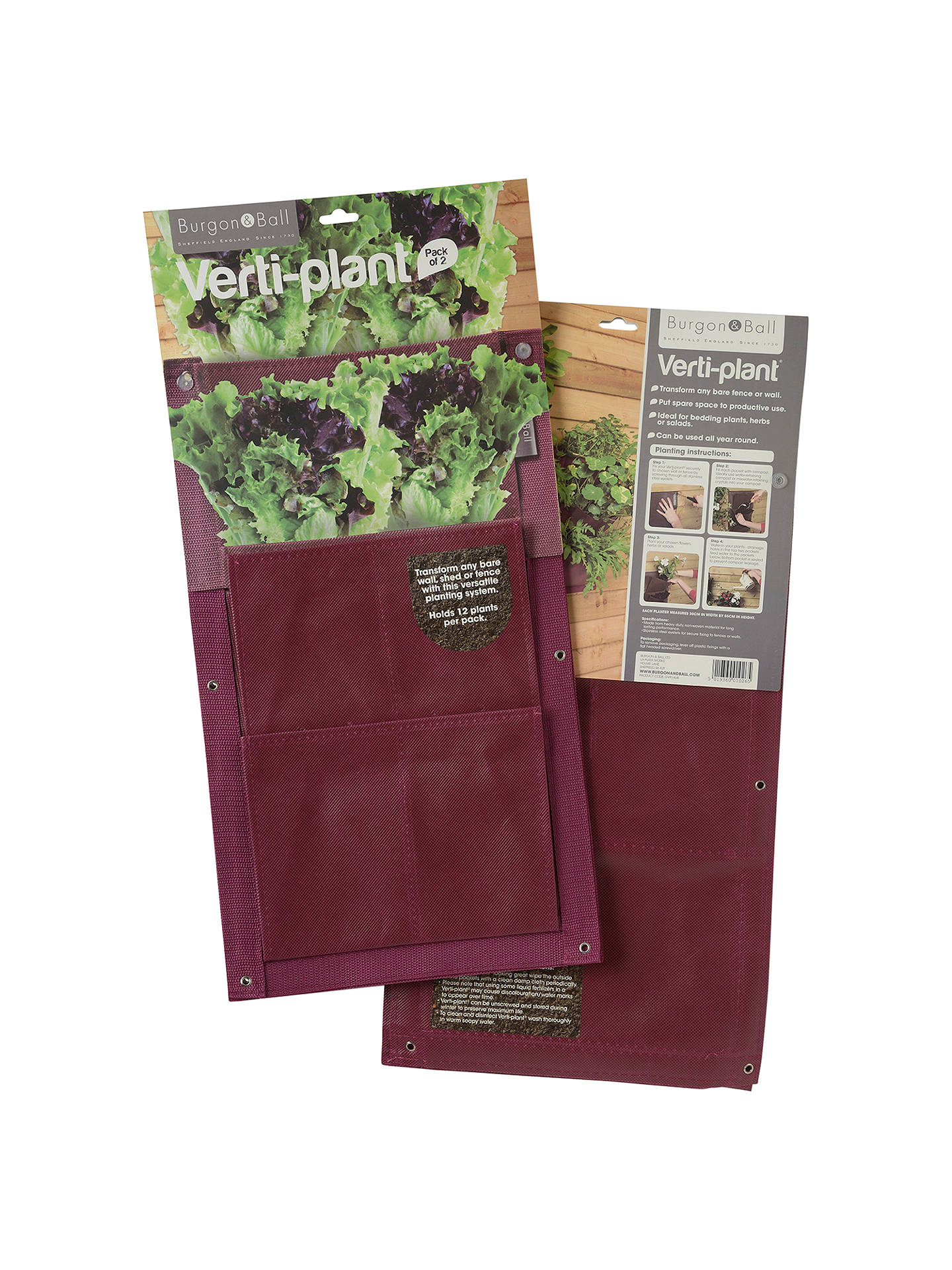 Buy Burgon & Ball Verti Plant Vertical Planter, Pack of 2, Aubergine Online at johnlewis.com