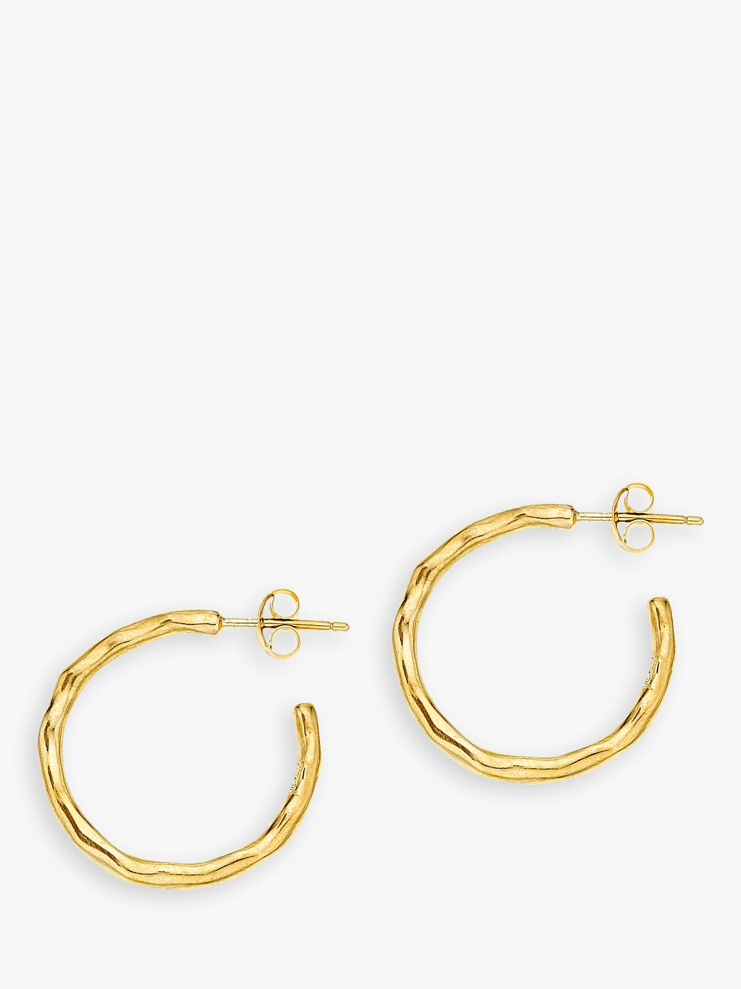 Dower & Hall Dower & Hall 18ct Gold Vermeil Small Ripple Hoop Earrings, Gold