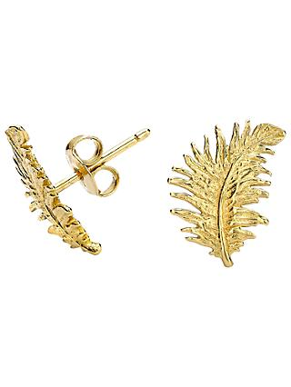Dower & Hall Small 18ct Gold Vermeil Feather Stud Earrings