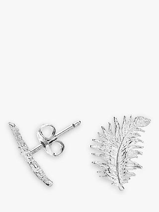 Dower & Hall Small Sterling Silver Feather Stud Earrings, Silver