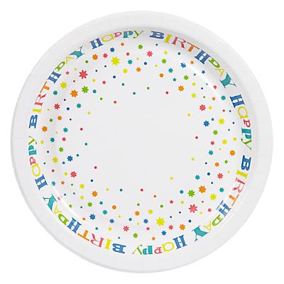 John Lewis Happy Birthday Plates, Pack of 8