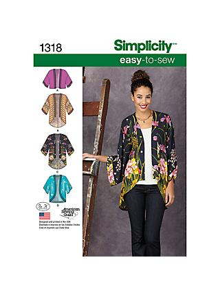 ade64b623bd Simplicity Women s Kimono Jackets Sewing Patterns