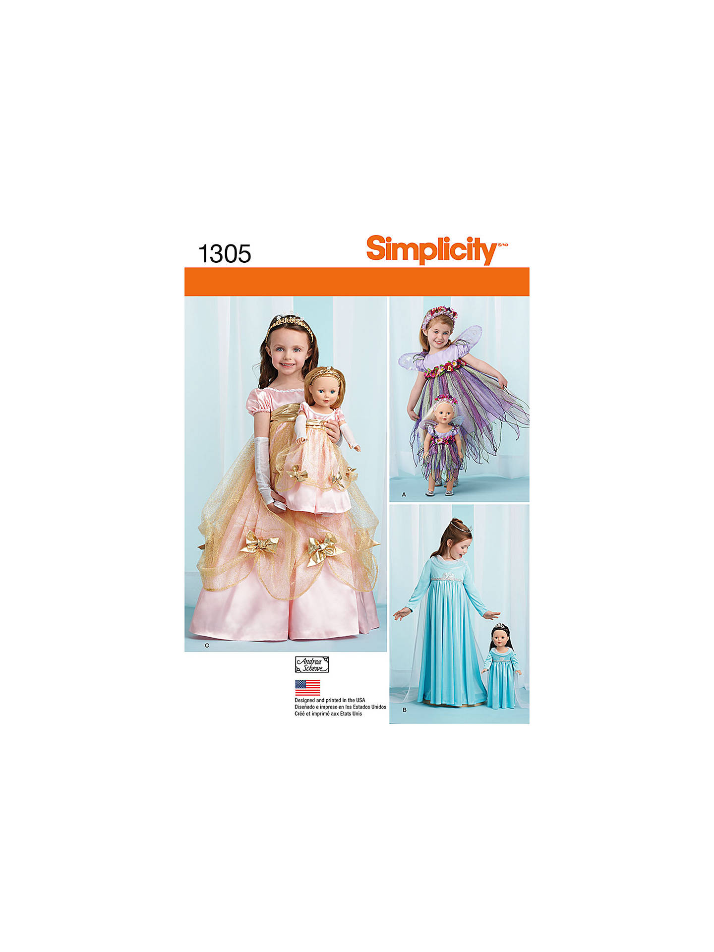 Simplicity Girls\' & Dolls\' Matching Costumes Sewing Patterns, 1305 ...