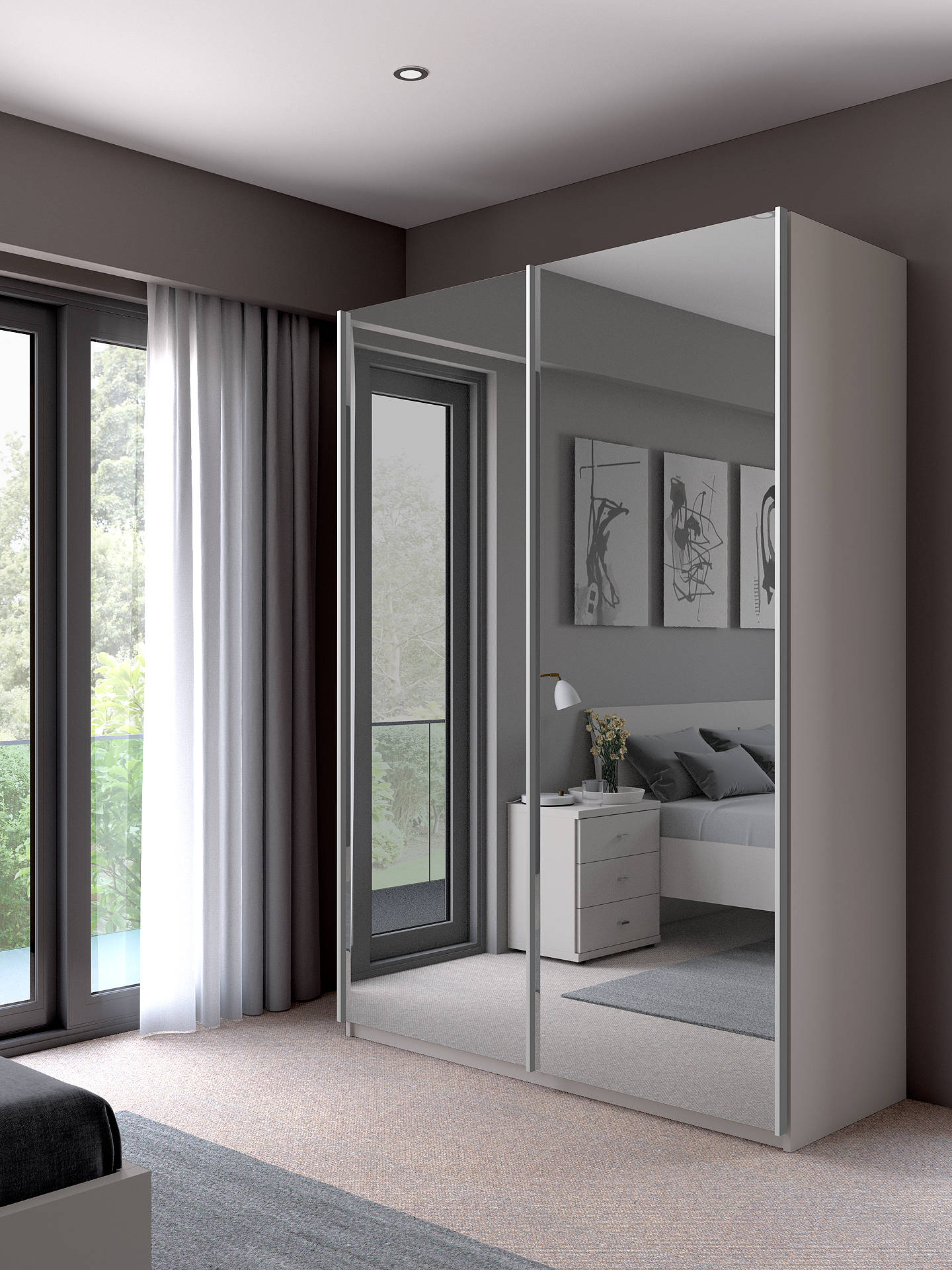 BuyJohn Lewis & Partners Elstra 150cm Wardrobe with Mirrored Sliding Doors, Alpine White Online at johnlewis.com