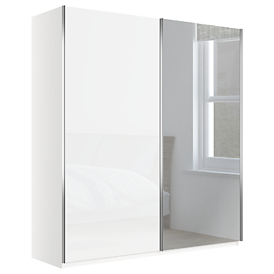 John Lewis & Partners Elstra 200cm Wardrobe with Glass and Mirrored Sliding Doors