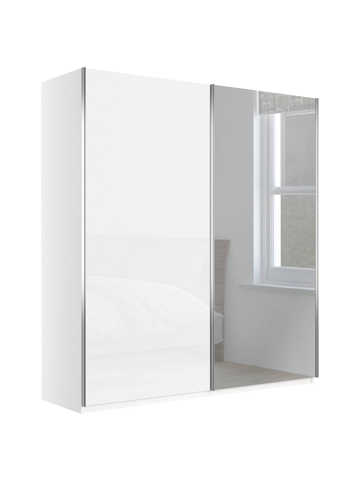 John Lewis Partners Elstra 200cm Wardrobe With Glass And Mirrored