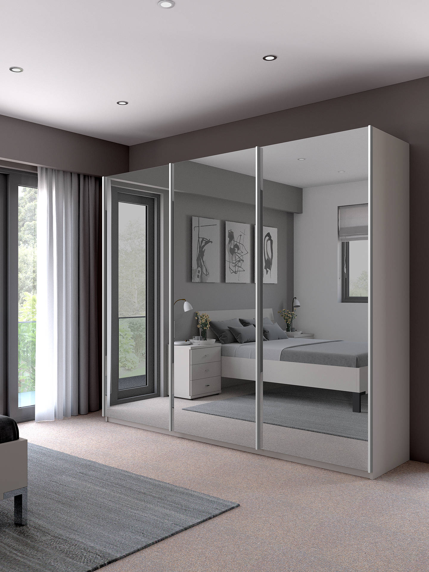 Buy John Lewis & Partners Elstra 250cm Wardrobe with Mirrored Sliding Doors, Matt White Online at johnlewis.com