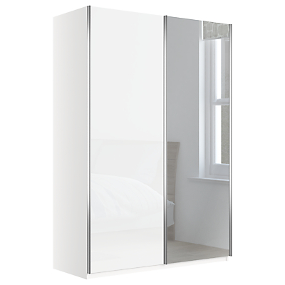 John Lewis Elstra 150cm Wardrobe with Glass and Mirrored Sliding Doors