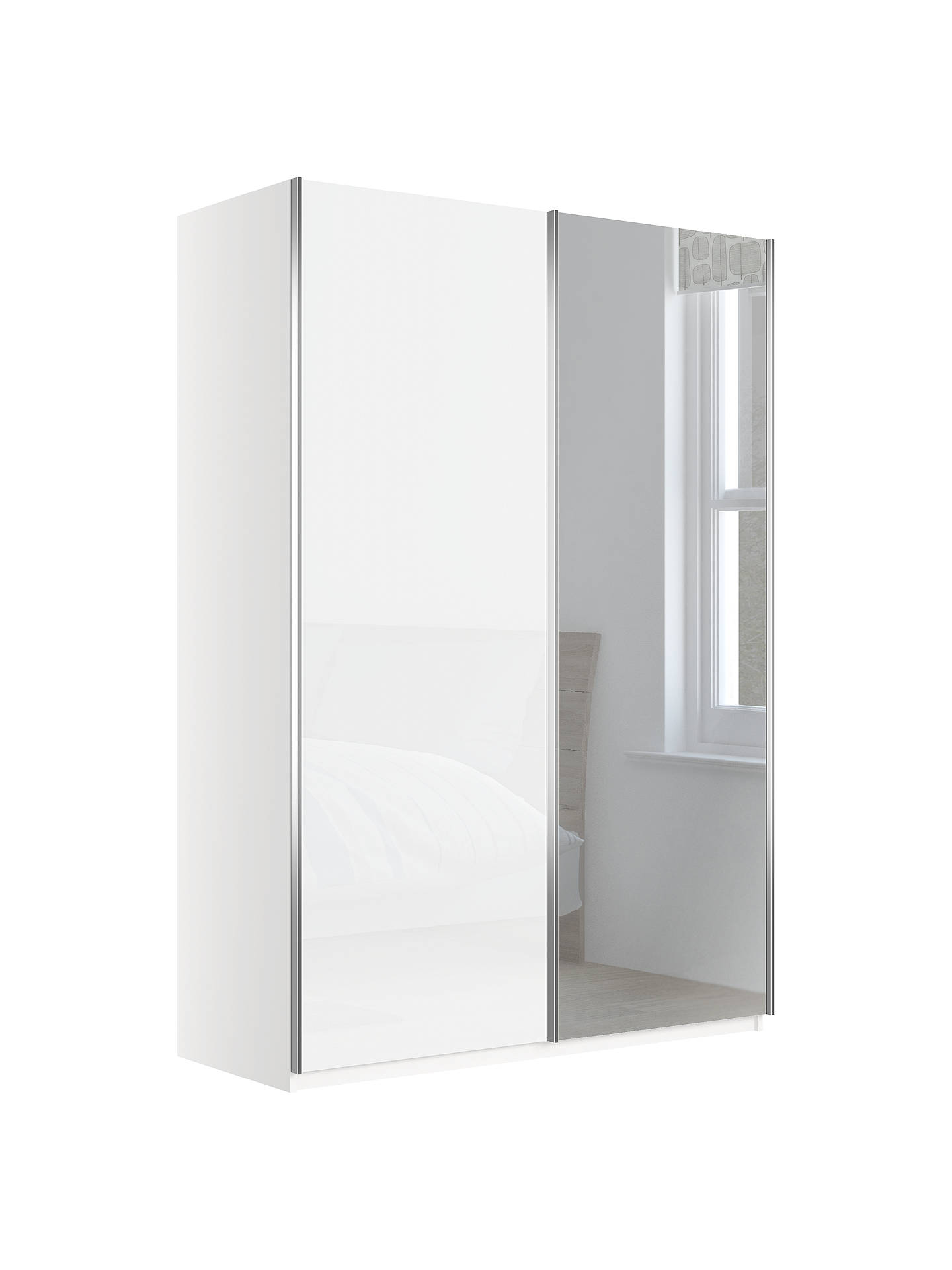 BuyJohn Lewis & Partners Elstra 150cm Wardrobe with White Glass and Mirrored Sliding Doors, White Alpine Online at johnlewis.com